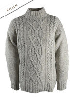 Wool Cashmere Aran Mock Turtleneck Sweater - Chalk