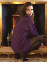 Merino Shawl Neck Cardigan - Purple