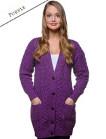 Merino Shawl Neck Cardigan - Purple