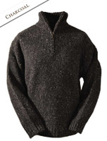 Men's Donegal Half Zip Sweater - Charcoal