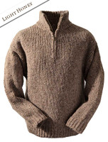 Men's Donegal Half Zip Sweater - Light Honey