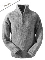 Men's Donegal Half Zip Sweater - Silver