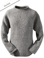 Roll Neck Sweater - Fisherman Sweater - Silver
