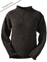 Roll Neck Sweater - Fisherman Sweater - Charcoal
