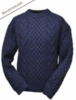 Mens Handknit Honeycomb Stitch Sweater - Nightshade