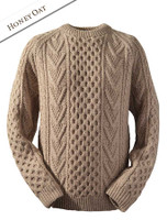 Mens Handknit Honeycomb Stitch Sweater - Honey Oat