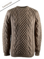 Mens Handknit Honeycomb Stitch Sweater - Tapestry