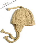 Aran Cable Fleece Lined Hat with Ear Flaps - Beige