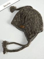 Aran Cable Fleece Lined Hat with Ear Flaps - Brown