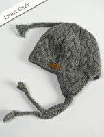Aran Cable Fleece Lined Hat with Ear Flaps - Light Grey