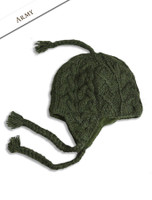 Aran Cable Fleece Lined Hat with Ear Flaps - Army Green