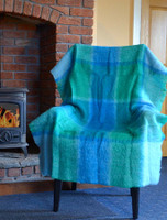 Mohair Plaid Knee Throw - Green Blue
