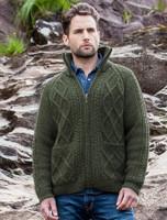 Hand Knit Zipper Cardigan with Pockets - Moss Green