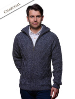Hand Knit Zipper Cardigan with Pockets - Charcoal