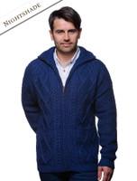 Hand Knit Zipper Cardigan with Pockets - Nightshade