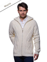 Hand Knit Zipper Cardigan with Pockets - White