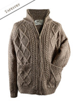 Hand Knit Zipper Cardigan with Pockets - Tapestry