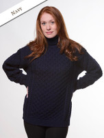 Merino Wool Turtleneck Sweater - Navy