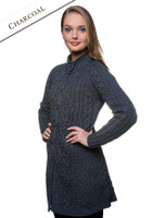Merino Wool Flared Coat - Charcoal