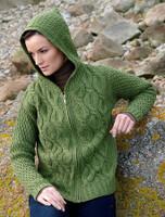 Women's Merino Wool Cable Knit Hoodie - Green