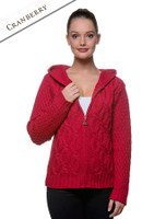 Women's Merino Wool Cable Knit Hoodie - Cranberry