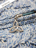 Zipper Detail of Women's Merino Wool Cable Knit Hoodie