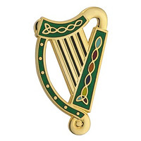 Gold Plated Harp Brooch - Green