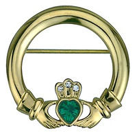 Gold Plated Claddagh Brooch with Stone