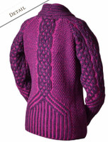 Back of Shawl Neck Two-Tone Merino Cardigan - Purple