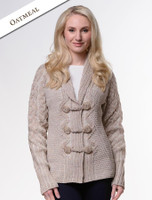 Shawl Neck Two-Tone Merino Cardigan - Oatmeal