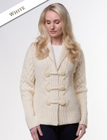 Shawl Neck Two-Tone Merino Cardigan - Natural White