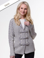 Shawl Neck Two-Tone Merino Cardigan - Grey
