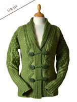 Shawl Neck Two-Tone Merino Cardigan - Grass