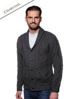 Men's Shawl Neck Cardigan - Merino Wool - Charcoal