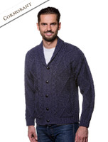 Men's Shawl Neck Cardigan - Merino Wool - Cormorant