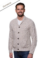 Men's Shawl Neck Cardigan - Merino Wool - Oatmeal