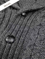 Button Detail of Men's Shawl Neck Cardigan - Merino Wool