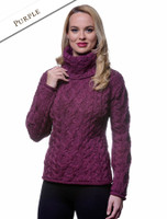 Womens Turtleneck Cable Knit Sweater - Purple