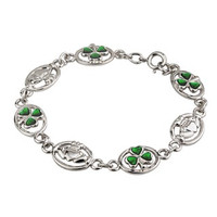 Rhodium Plated Claddagh & Shamrock Bracelet