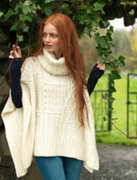 Merino Wool Patchwork Poncho with Collar - Natural White