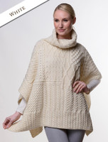 Merino Wool Patchwork Poncho with Collar - White