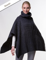 Merino Wool Patchwork Poncho with Collar - Derby