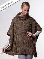 Merino Wool Patchwork Poncho with Collar - Brown