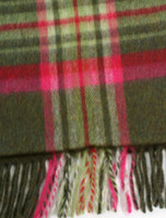 Narrow Lambswool Plaid Scarf - Olive Pink