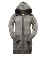 Women's Fair Isle Long Hooded Coatigan with Celtic Knot Zipper Pull - Fair Isle