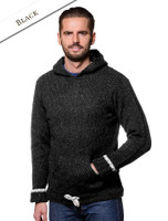 Men's Wool Hoodie with Pouch Pocket - Black