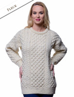 Women's Heavyweight Traditional Aran Wool Sweater - Fleck
