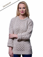 Women's Heavyweight Traditional Aran Wool Sweater - Skiddaw