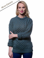 Women's Heavyweight Traditional Aran Wool Sweater - Moss Green