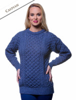Women's Heavyweight Traditional Aran Wool Sweater - Caspian